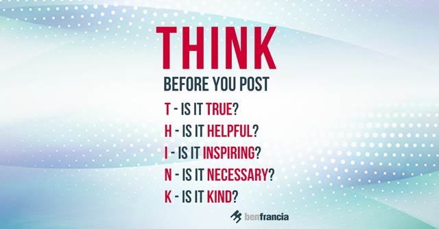 Social Media Etiquette: THINK Before You Post